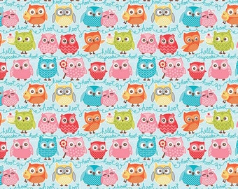 Tree Party Owls Blue - Riley Blake Designs - Birds Pink - Jersey KNIT cotton lycra spandex stretch fabric - choose your cut