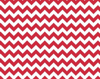 Small Chevron Red by Riley Blake Designs - Jersey KNIT cotton lycra spandex stretch fabric - choose your cut