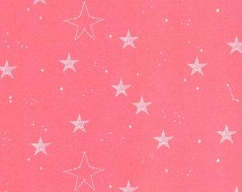 Magic Lucky Stars Coral Pink Sarah Jane Michael Miller - Jersey KNIT cotton lycra spandex stretch fabric - fat half