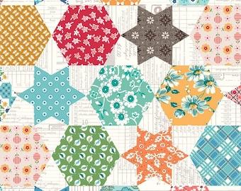 Flea Market Cheater Print C10230 Multi - Riley Blake Designs - Stars Hexagons - Lori Holt  - Quilting Cotton Fabric