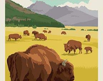 National Parks Poster Panel Yellowstone by Riley Blake Designs - Outdoors Recreation Wyoming Montana Bison - Quilting Cotton Fabric