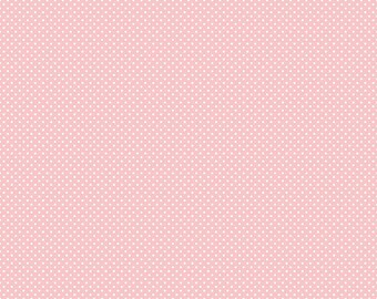 Happy Day Dot Pink - Riley Blake Designs - Polka Dot White on Pink Swiss Tiny Dot - Quilting Cotton Fabric - fat quarter