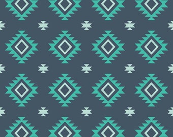 Aztec Teal by Riley Blake Designs  - Navy  blue - Jersey KNIT cotton lycra spandex stretch fabric - choose your cut