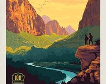 National Parks Poster Panel Zion by Riley Blake Designs - 100th Anniversary Outdoors Recreation Utah - Quilting Cotton Fabric