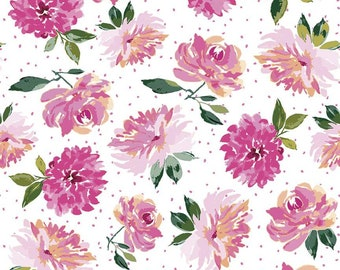 SALE Lucy June Flowers C11221 White - Riley Blake Designs - Floral on Dotted White - Quilting Cotton Fabric