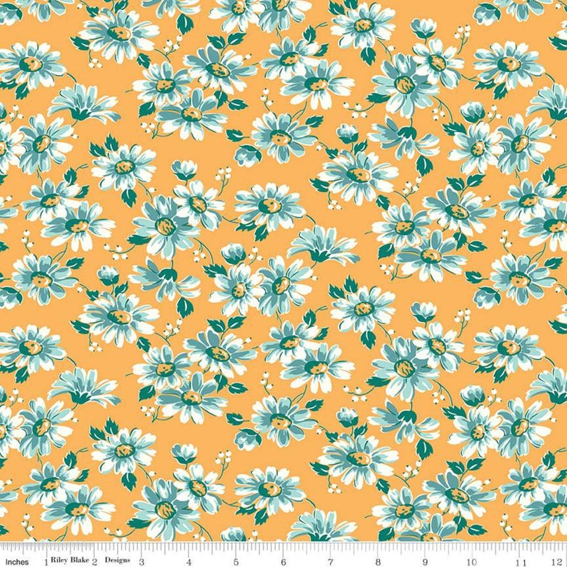 SALE Flea Market Floral C10213 Daisy Riley Blake Designs Lori Holt Quilting Cotton Fabric Flowers Floral Gold Yellow