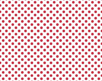 Small Dots Red on White by Riley Blake Designs - polka dots - Quilting Cotton Fabric - choose your cut