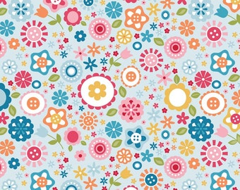Fine and Dandy Floral Blue for Riley Blake Designs - Flowers Pink Orange Yellow - Cotton FLANNEL Fabric - choose your cut