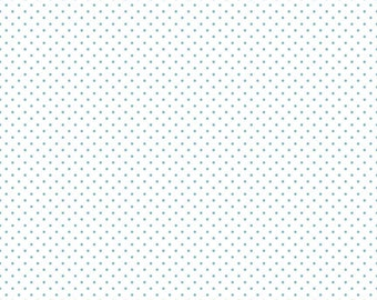 SALE Aqua Swiss Dots on White by Riley Blake Designs - Polka Dot - Quilting Cotton Fabric