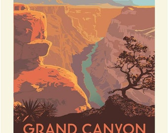 SALE National Parks Poster Panel Grand Canyon by Riley Blake Designs - Outdoors Arizona DIGITALLY PRINTED - Quilting Cotton Fabric