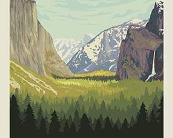 SALE National Parks Poster Panel Yosemite by Riley Blake Designs - Outdoors Recreation California - Quilting Cotton Fabric