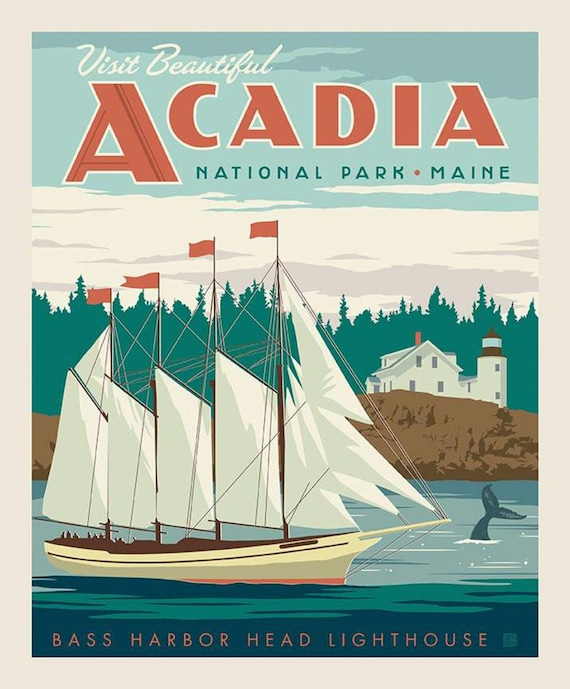 Sale National Parks Poster Panel Acadia By Riley Blake Etsy