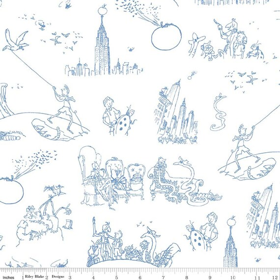 Riley Blake Fabric Roald Dahls James and The Giant Peach Main White HALF METRE