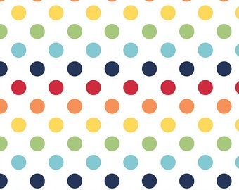 """Rainbow on White Medium Dots 3/4"""" by Riley Blake Designs - Polka Dots - Quilting Cotton Fabric - choose your cut"""