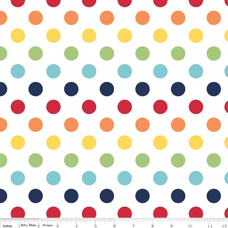 SALE Rainbow on White Medium Dots 3/4 by Riley Blake image 0