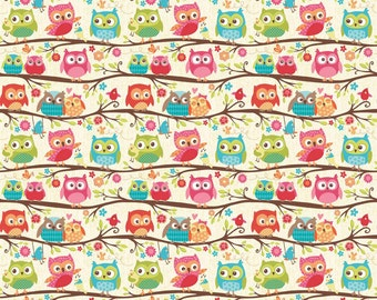 Happy Flappers Owls Cream by Riley Blake Designs - Jersey KNIT cotton lycra spandex stretch fabric - choose your cut