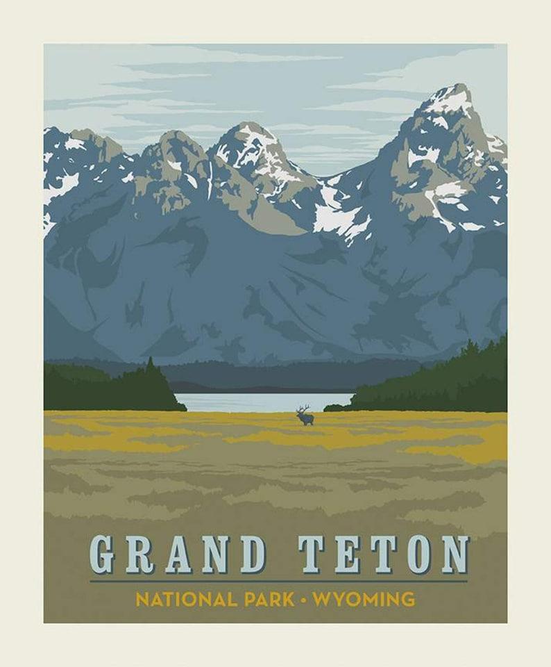 SALE National Parks Poster Panel Grand Teton by Riley Blake image 0