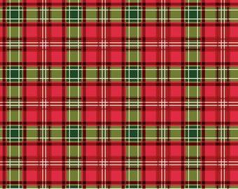 SALE Christmas Memories Plaid Multi - Riley Blake Designs - Red Green Cream Plaid  - Quilting Cotton Fabric