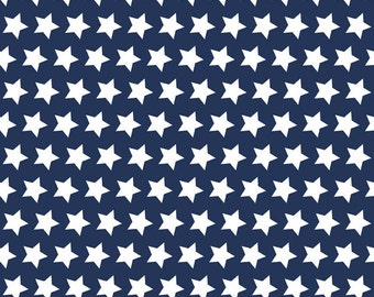 SALE Navy Stars Basic by Riley Blake Designs - Navy Blue Star White Patriotic - Quilting Cotton Fabric