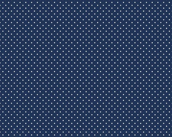 SALE White on Navy Swiss Dots by Riley Blake Designs - Blue Polka Dot - Quilting Cotton Fabric
