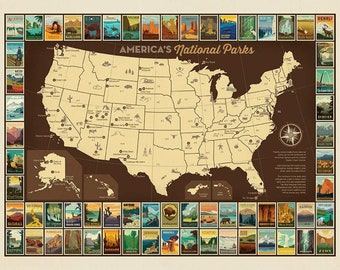 SALE National Parks Poster Panel USA Map by Riley Blake Designs - America Recreation DIGITALLY Printed - Quilting Cotton Fabric