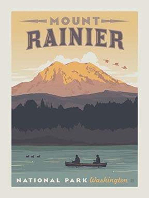 National Parks Poster Panel Mount Rainier By Riley Blake Etsy