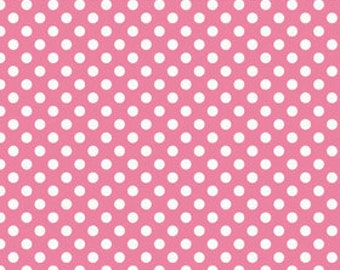 Hot Pink Small White Dots by Riley Blake Designs - polka dots - Quilting Cotton Fabric - choose your cut