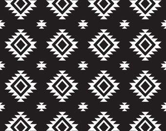 SALE Aztec Black by Riley Blake Designs - Black and white - Jersey KNIT cotton lycra spandex stretch fabric - choose your cut
