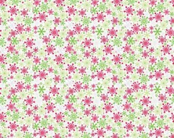 Christmas Holiday Snow Flakes Multi by Riley Blake Designs - Jersey KNIT cotton lycra spandex stretch fabric - choose your cut