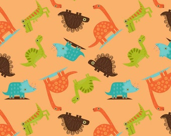 "Dinosaur Toss Orange by Riley Blake Designs - Dinosaurs - Jersey KNIT cotton lycra spandex stretch fabric - 10"" end of bolt"