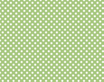 """Green Small Dots 1/4"""" by Riley Blake Designs - White on Green polka dots- Quilting Cotton Fabric - choose your cut"""
