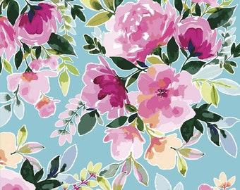 Lucy June Main C11220 Aqua - Riley Blake Designs - Floral Flowers Blue - Quilting Cotton Fabric