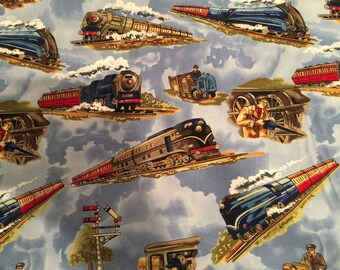 Trains Blue by Michael Miller - Railroad - Quilting Cotton Fabric - choose your cut