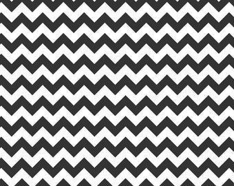 Small Chevron Black and White by Riley Blake Designs - Jersey KNIT cotton lycra spandex stretch fabric - choose your cut
