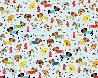 SALE Rover Dog Park Blue by Riley Blake Designs - Puppy Brown - Jersey KNIT cotton lycra spandex stretch fabric - choose your cut