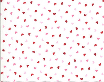 Be Mine Sweetness 20717 Love Dove - Moda Fabrics - Valentine's Hearts Heart Pink Red White - Quilting Cotton Fabric - End of bolt pieces