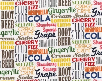 SALE Sodalicious Cola by Michael Miller - Pop Words Text Drinks Soda - Quilting Cotton Fabric - choose your cut