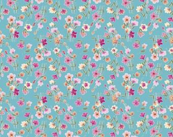 Lucy June Stems C11224 Aqua - Riley Blake Designs - Floral Flowers Blue - Quilting Cotton Fabric
