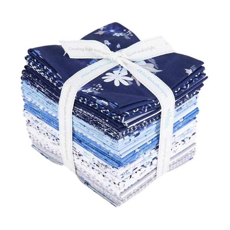 Quilting Cotton Fabric Floral Blue Stitch Fat Quarter Bundle 24 pieces Riley Blake Designs Pre cut Precut