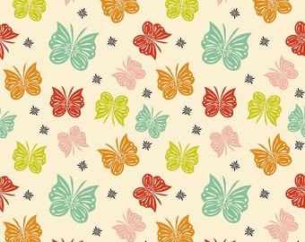 Acorn Valley Flutter Multi by Riley Blake Designs Butterflies Jersey KNIT cotton lycra spandex stretch fabric - choose your cut