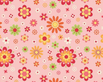 Just Dreamy 2 Floral Pink by Riley Blake Designs - Flowers - Jersey KNIT cotton lycra spandex stretch fabric - choose your cut