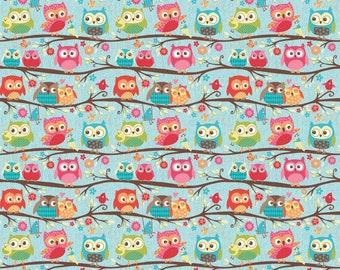 SALE Happy Flappers Owls Blue by Riley Blake Designs - Branches - Jersey KNIT cotton lycra spandex stretch fabric - by the yard half quarter