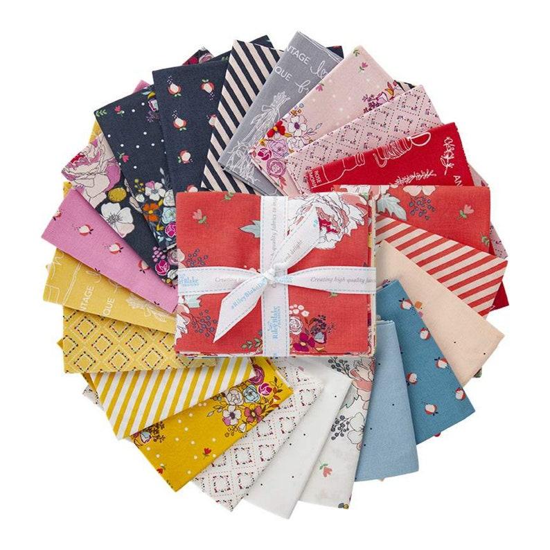 Quilting Cotton Fabric SALE Idyllic Fat Quarter Bundle 21 pieces Riley Blake Designs Flowers Floral Pre cut Precut