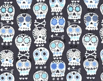 Bone Head Charcoal by Michael Miller - Sugar Skull Gray - Quilting Cotton Fabric - choose your cut