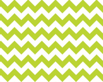 Small Chevron Lime Green and White - Riley Blake Designs - Jersey KNIT cotton lycra spandex stretch - choose your cut