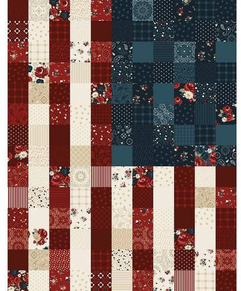 Riley Blake Designs American Legacy Flag Panel Multi Quilting Cotton Fabric Patriotic Independence Day Red Blue Cream