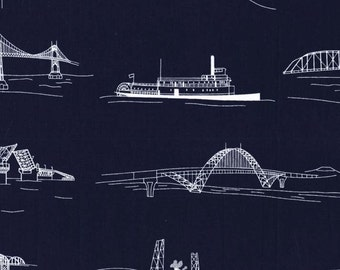 Waterfront Park Bridgetown Navy by Michael Miller - Ships Boats Blue Water - Quilting Cotton Fabric - choose your cut