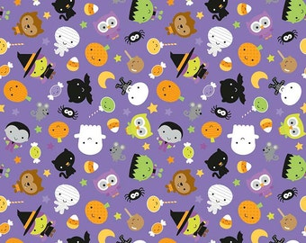 Ghouls and Goodies Main Purple - Riley Blake Designs - Halloween - Jersey KNIT cotton lycra spandex stretch fabric - choose your cut