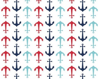 Anchors Multi by Riley Blake Designs - Holiday Patriotic - Jersey KNIT cotton lycra spandex stretch fabric - choose your cut
