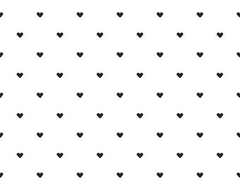 When Skies Are Gray Heart Black White - Riley Blake Designs - Jersey KNIT cotton lycra spandex stretch fabric - choose your cut